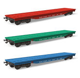 Set of railroad flatcars. Set of color railroad flatcars isolated over white background Royalty Free Stock Image