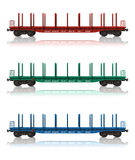 Set of railroad flatcars Royalty Free Stock Images