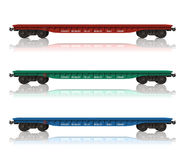 Set of railroad flatcars. Isolated over white background Royalty Free Stock Image