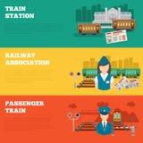 Set of railway banners Stock Photo