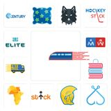 Set of railway, fishing hook, warrior head, stick figure, africa map, book shop, free delivery, restroom, the elite icons. Set Of 13 simple editable icons such Royalty Free Stock Photography
