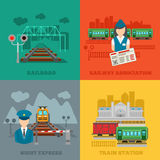 Set of railway flat concepts Royalty Free Stock Photo