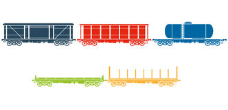 Set of Railway freight cars Royalty Free Stock Photography