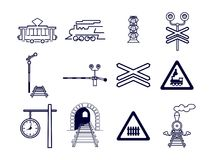 Set of 12 railway icons. Set of 12 black and white railway icons: tram, locomotive, semaphore, railway crossing, signs, station clock, tunnel stock illustration
