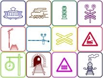 Set of 12 railway icons. Set of 12 colored square railway icons: tram, locomotive, semaphore, railway crossing, signs, station clock, tunnel royalty free illustration