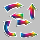Set of rainbow arrow stickers with shadow Stock Photography