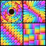 Set rainbow backgrounds with realistic glossy elements. Fun abstract backdrop for decor and selebration. Beautiful vector ornate royalty free illustration
