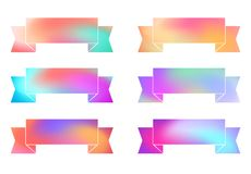 Set of rainbow blured colorful ribbons. Vector elements for banner, postcard, invitation, gift and your design Stock Image