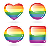 Set of rainbow buttons Stock Photos