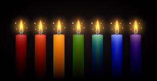 Set of rainbow candles. Vector element. Royalty Free Stock Photo