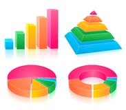 Set of rainbow charts. Set of four colorful rainbow charts Royalty Free Stock Photos