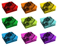 Set of rainbow color gift boxes, decorated with black lace Stock Images
