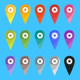 Map pins on blue royalty free illustration