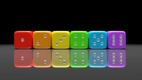 Set of rainbow colored dices on the gray background. Colorful play dice with numbers. Casino gamble playing tool. 3D render.  stock illustration