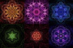 Set of rainbow colored fractal mandala shapes Stock Photography