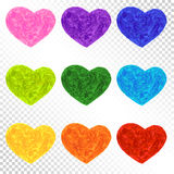 Set Rainbow Colorful Hearts Stock Photo