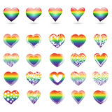 Set of rainbow hearts. A large set of openwork hearts with rainbow colors. Vector illustration Stock Photos