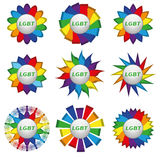 Set of rainbow icons with text lgbt. Set of icons on a rainbow background with white text lgbt. In the illustration used free font Amble (taken here www Stock Photo