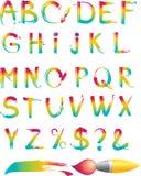 Set of rainbow letters alhabet Stock Image