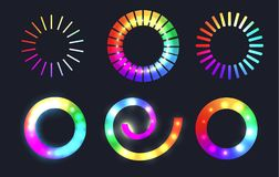 Set of rainbow loading sliders with sparkles. Vector element for infographic, sites and your design royalty free illustration