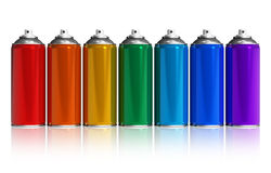 Set of rainbow paint spray cans Stock Images