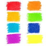 Set of rainbow pastel crayon spots. Isolated on white background royalty free illustration