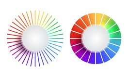 Set of rainbow round banners with place for text. The object is separate from the background. Vector element for infographics. Sites and your design stock illustration