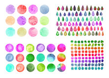 Set of rainbow watercolor circles. Watercolor design elements isolated on white background Royalty Free Stock Image