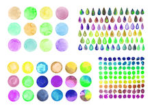 Set of rainbow watercolor circles. Watercolor design elements isolated on white background Royalty Free Stock Photo