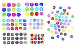 Set of rainbow watercolor circles. Watercolor design elements isolated on white background Royalty Free Stock Photos