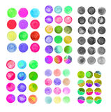 Set of rainbow watercolor circles. Watercolor design elements isolated on white background Stock Image