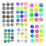 Set of rainbow watercolor circles. Watercolor design elements isolated on white background Royalty Free Illustration