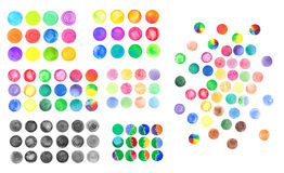 Set of rainbow watercolor circles. Watercolor design elements  on white background Royalty Free Stock Photos