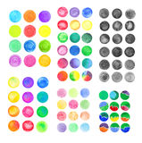 Set of rainbow watercolor circles. Watercolor design elements  on white background Royalty Free Stock Image
