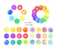 Set of rainbow watercolor vector circles. Watercolor vector design elements  on white background Stock Photo