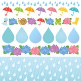 Set of rainy day illustrations. Royalty Free Stock Photography
