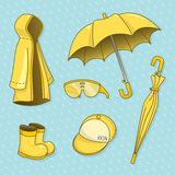 Set of rainy day. vector illustration stock photo