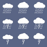 Set of rainy icon for weather or climate project. Stock Images