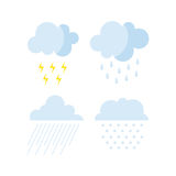Set of rainy weather clouds icons vector. Stock Image