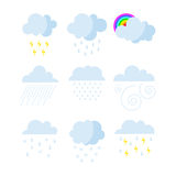 Set of rainy weather clouds icons vector. Royalty Free Stock Image
