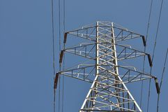 A set of raised electricity cables. And blue sky Royalty Free Stock Photo