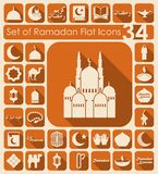 Set of ramadan flat icons. It is a set of 34 vector sticker icons with shadow. Paper cut Royalty Free Stock Photo