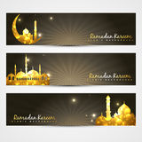 Set of ramadan headers. Vector set of ramadan kareem and eid headers