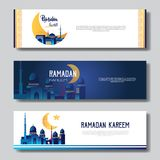 Set ramadan kareem muslim religion holy month flat banner copy space royalty free illustration