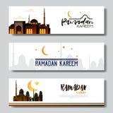 Set ramadan kareem muslim religion holy month flat banner stock illustration