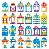 Set of 24 Ramadan Lanterns. _ Flat style design _ Happy Ramadan