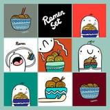Set ramen jedzenia karty i plakaty wręczamy patroszone ilustracje z ślicznym marshmallow ilustracja wektor