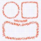 Set ramy doodle czerwony pióro na szkolnej notatnik stronie w klatce Obraz Royalty Free