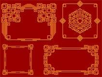 Set ramy w Chińskim stylu Dla projekta pocztówki, powitania i koperty, Obrazy Stock