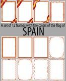 Set 12 ramy z kolorami flaga Hiszpania Obrazy Royalty Free